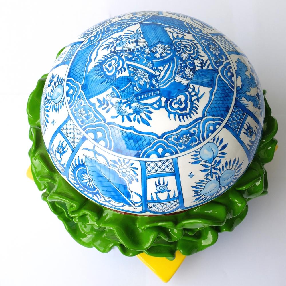 ARTTAG circle | Song Wei | Porcelain Hamburger Blossoming 盛 | 2014 | Fiberglass Sculpture | 23cm x 23cm x 23cm