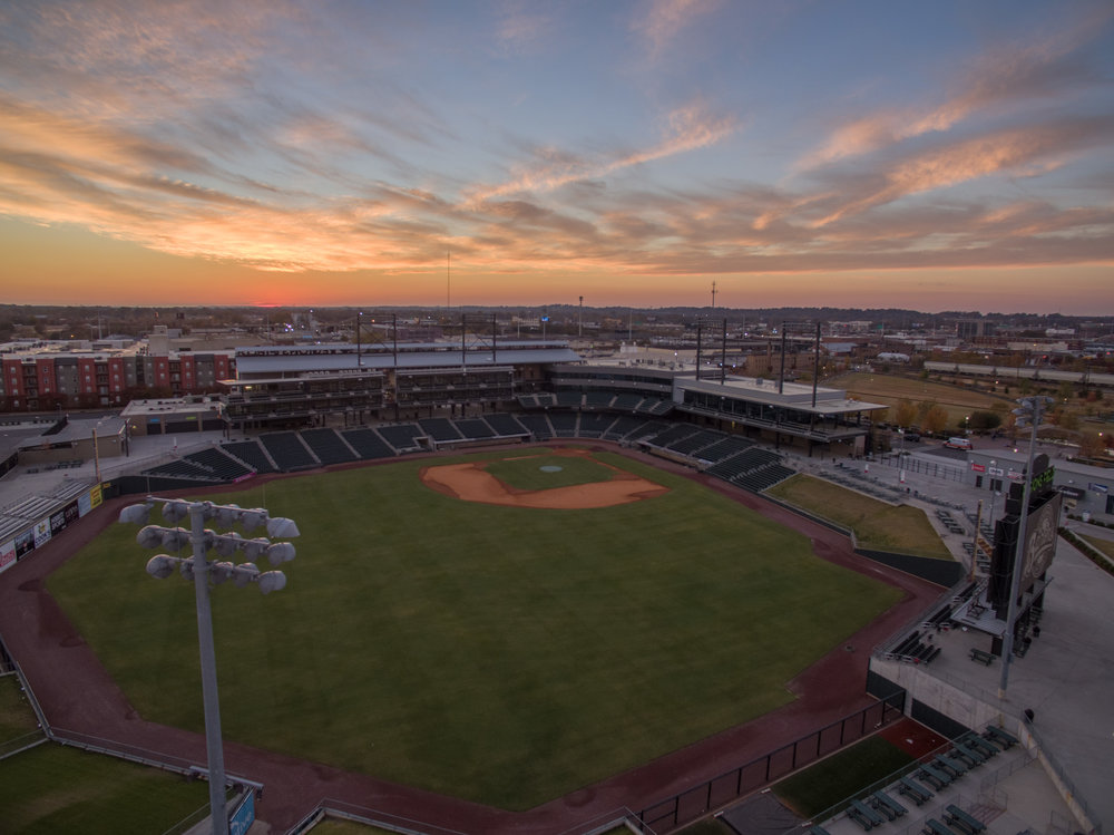 Sunset over Regions Field in Birmingham