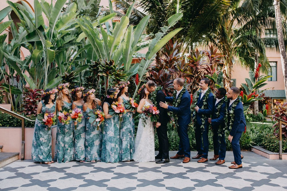 tropical wedding party