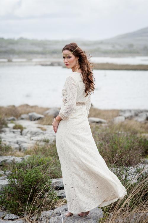 Ivory Lace Celtic Wedding Dress with Sleeves — Free Spirited Celtic ...