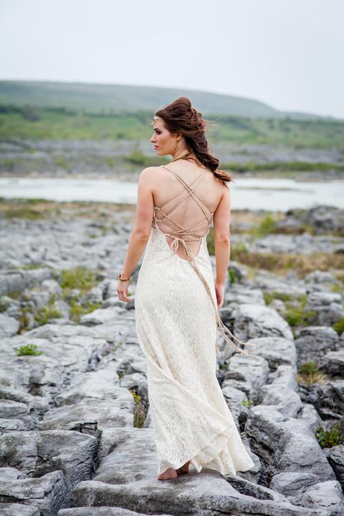 2535e29cc2c7 Raw Goddess Celtic Wedding Dress — Free Spirited Celtic design
