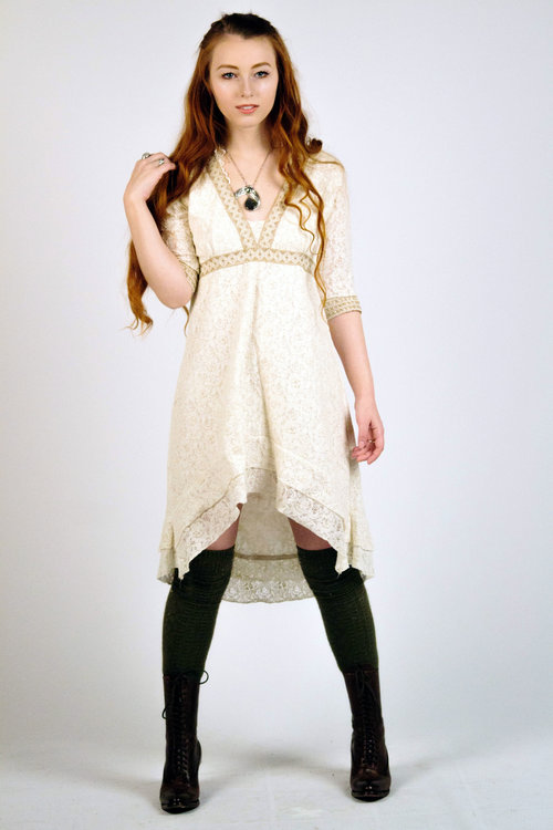 Woodland ivory lace dress, raw jute trimming — Free Spirited ...