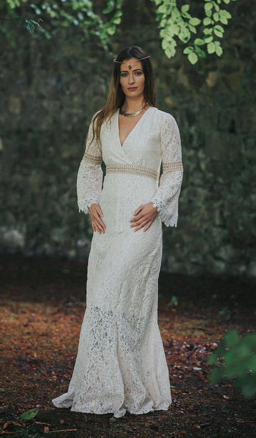 Folk Wedding Dress with Sleeves — Free Spirited Celtic design