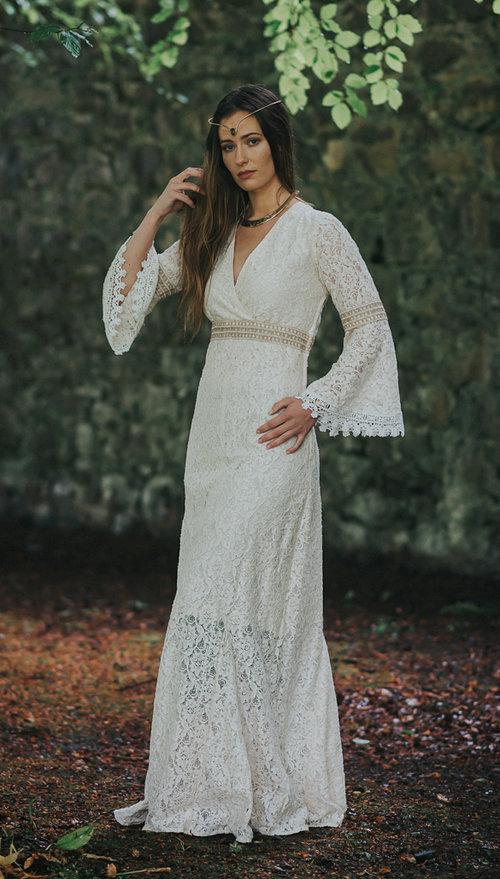Folk Wedding Dress with Sleeves — Free Spirited Celtic design