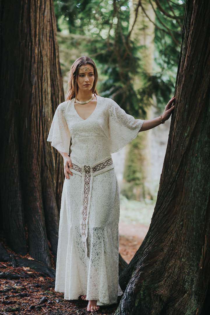 Celtic Wedding Dress with Celtic Weddding belt