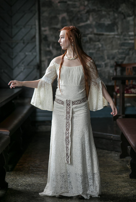 Irish Wedding Dress.Natural Queen Handfasting Wedding Dress Free Spirited Celtic Design