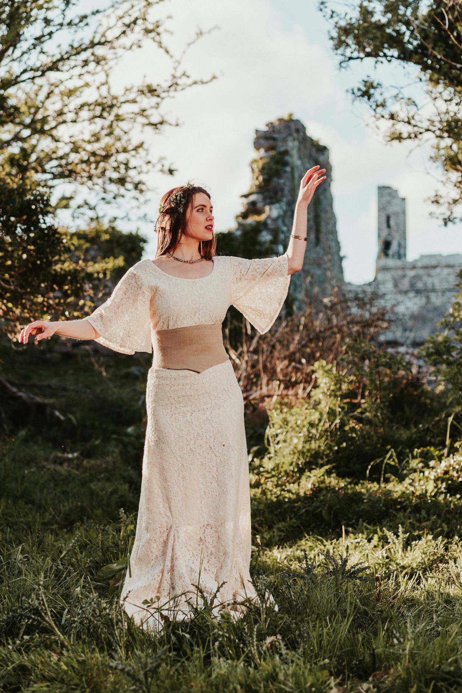 Eadon Corsetted Wedding Dress Free Spirit Pagan Clothing,Sparkle Glitter Tulle Wedding Dress