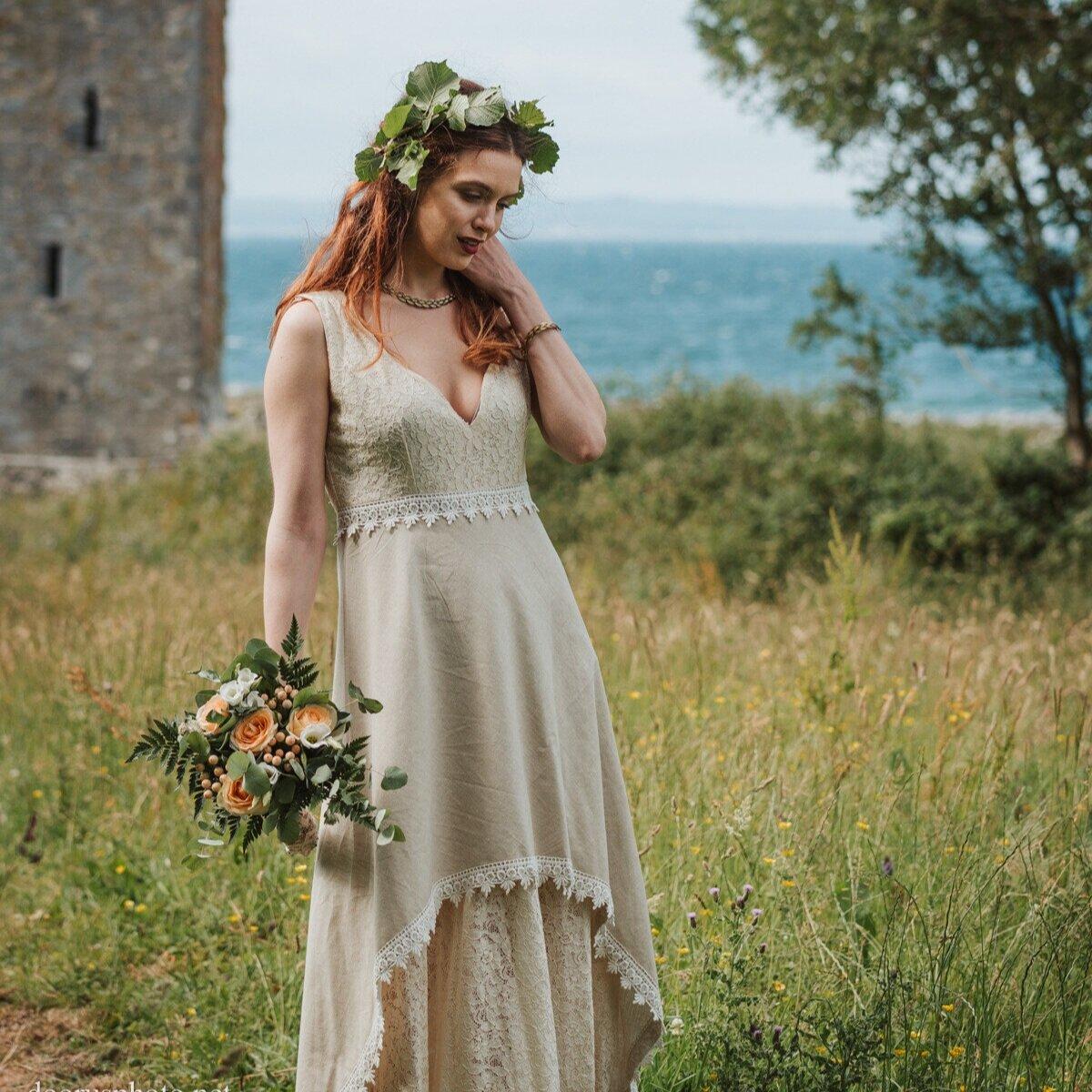 Linen Wedding Dress.Danu Wedding Dress Free Spirited Celtic Design