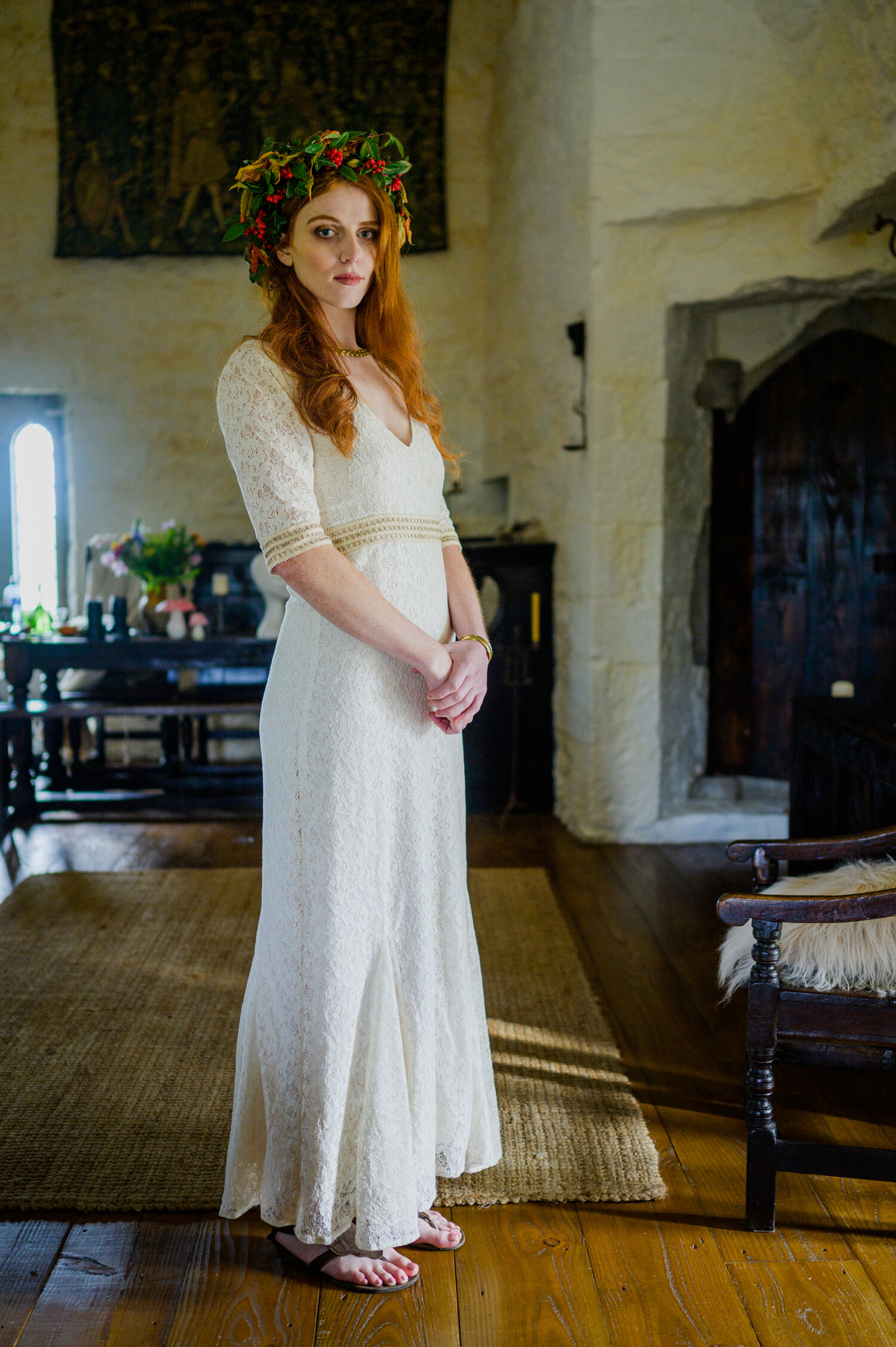 Ivory Lace Celtic Wedding Dress With Sleeves