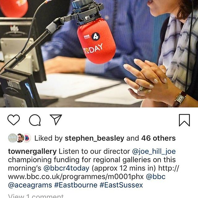 Regram: 👆🏻great to hear Eastbourne's @townergallery director @joe_hill_joe talking passionately about public arts funding on BBC's Today programme this morning #townergallery #eastbourne