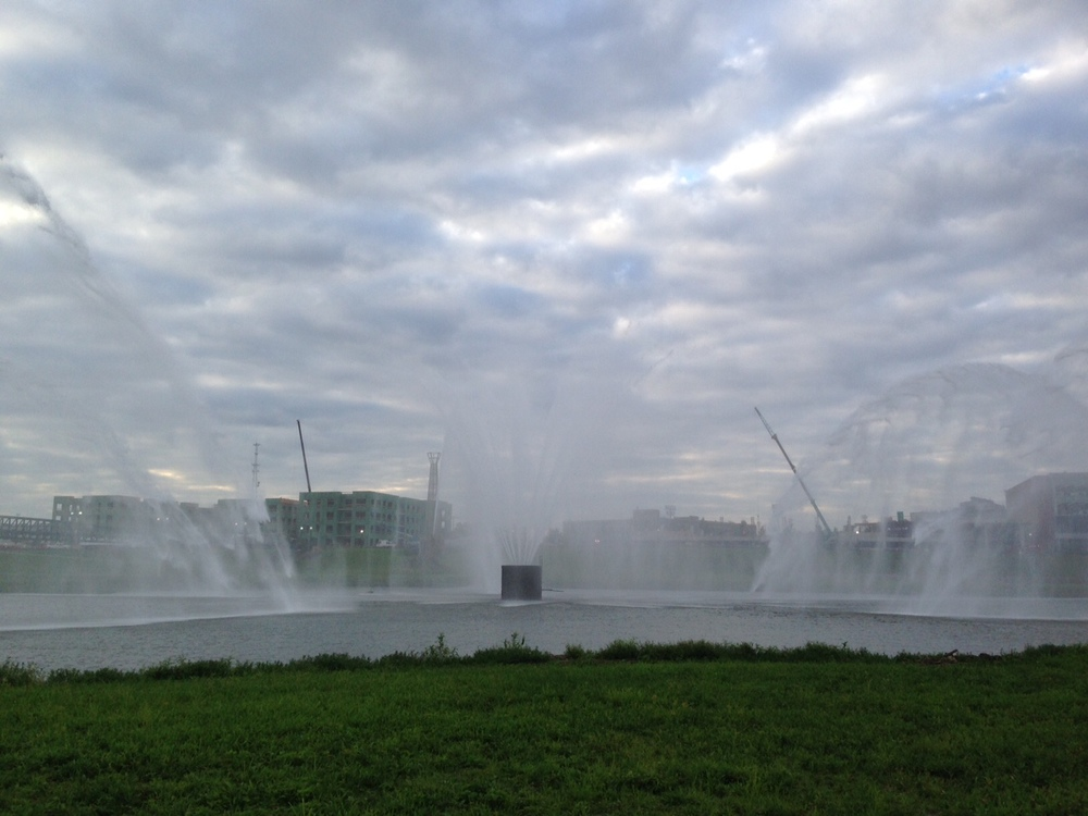 The view of the fountains up close.