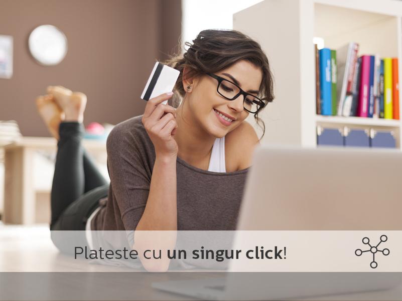 Poti achita toate facturile online, direct de pe mobil, o singura data pe luna.