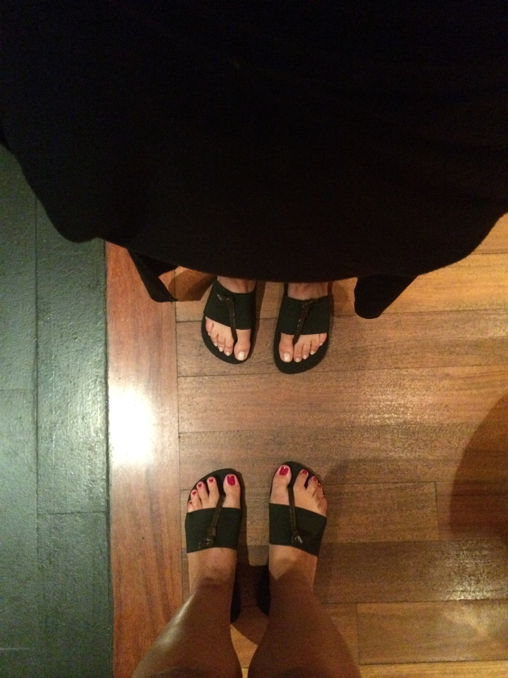 The sandals we got to keep. Too bad they were too big on Janine's tiny feet.