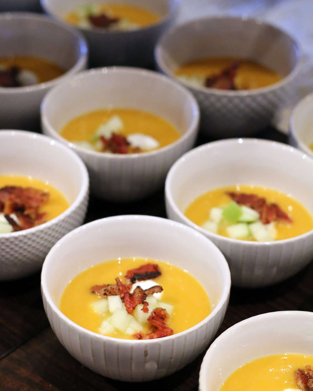 Butternut Squash Soup with Apple and Bacon
