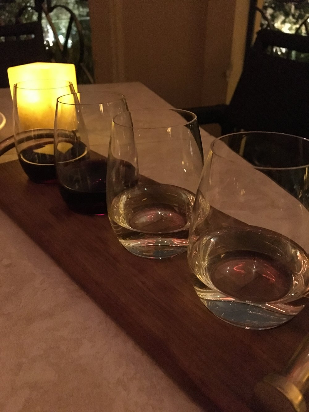 Wine flight at la cave food & wine hideaway