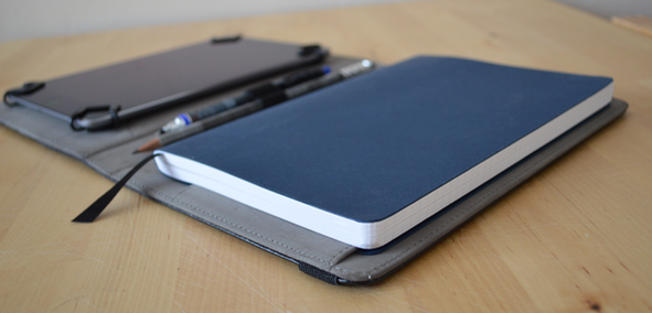 iPad Mini with Blueprint Blue Notebook