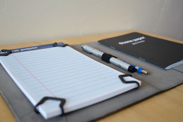 The clips can also hold small paper pads like the Doane Paper Notepads.