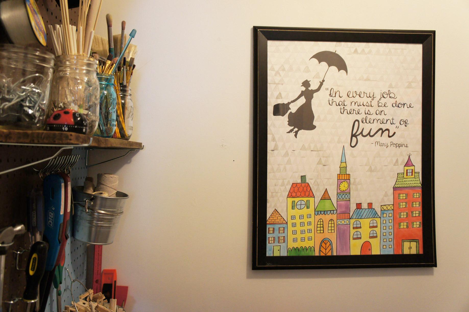 Mary Poppins laundry room artwork