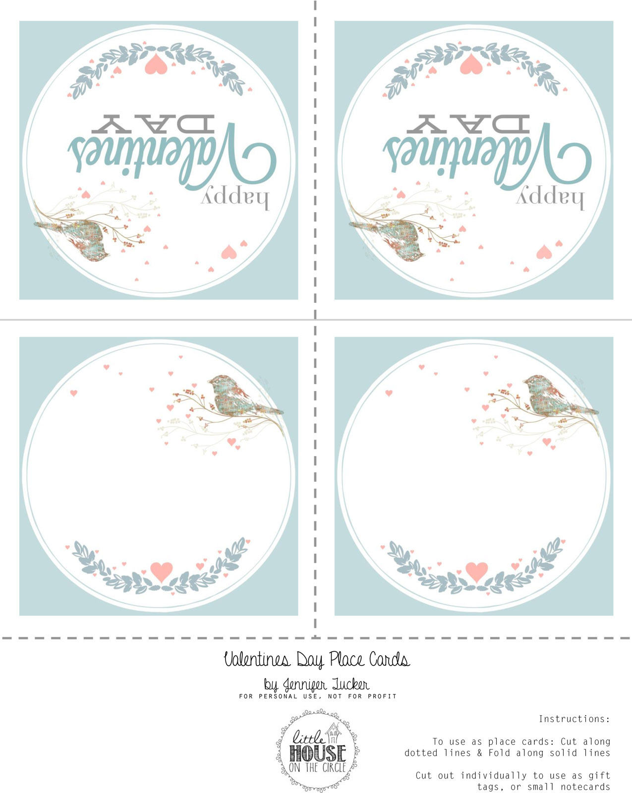 Valentines LOVE Place Cards ~ Free Printable