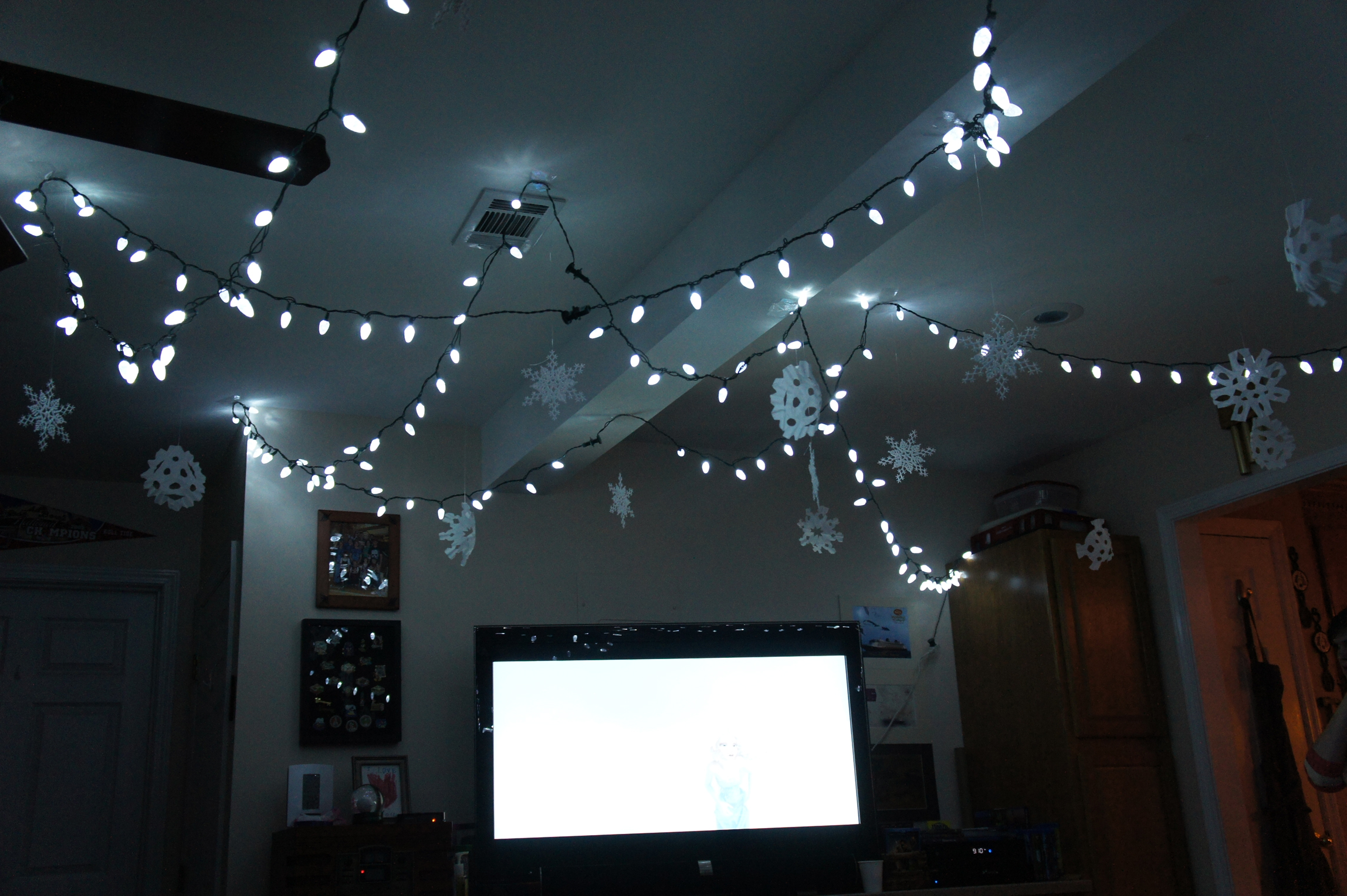 Indoor movie under the twinkle light stars