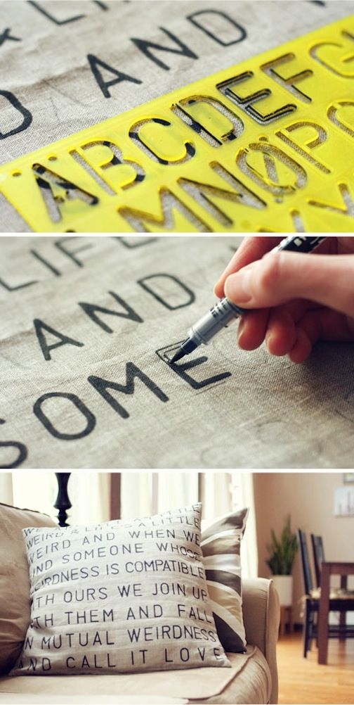 I love this  diy stencil pencil from Wit & Whistle . I'm thinking, though, of just free-handing some words onto some scrap fabric I already have...we'll see. :)