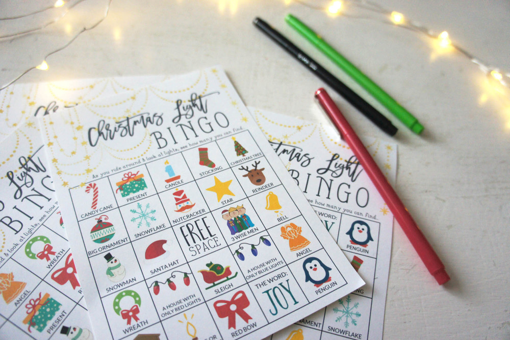 Christmas Light Bingo Cards from Little House Studio