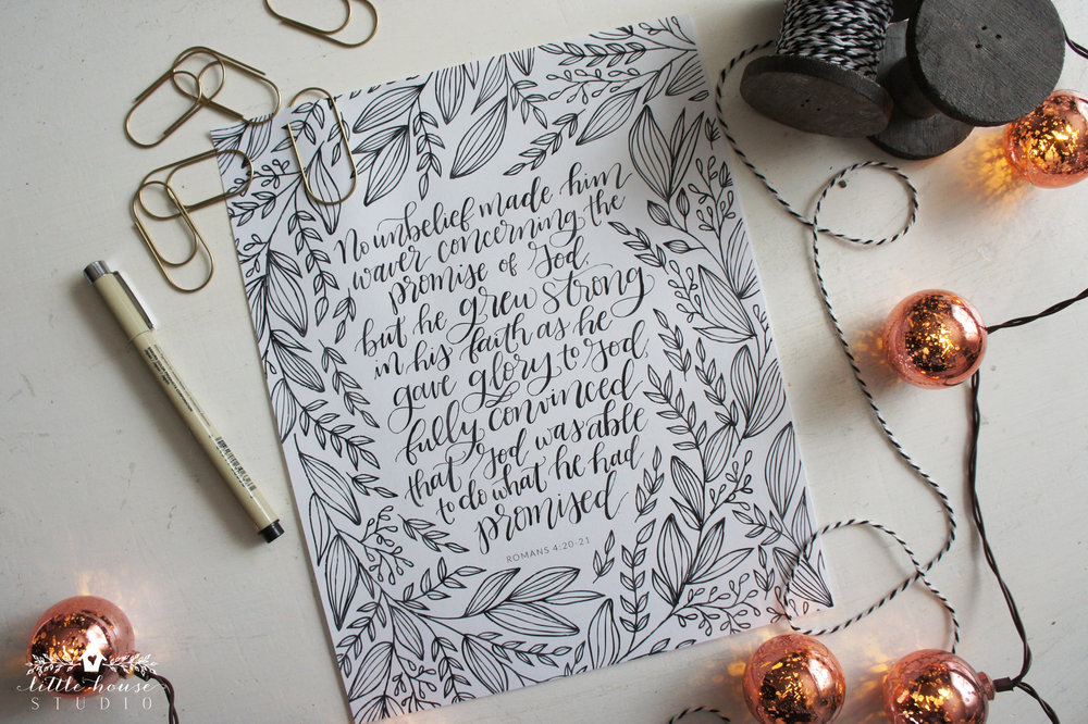 The Faith of Abraham || Romans 4:20-21 || Free Printable || Little House Studio