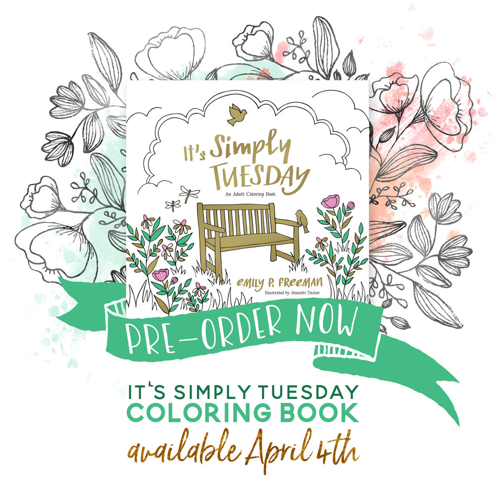 It was such an incredible joy and humbling grace to illustrate the pages of Emily P. Freeman's new book, It's Simply Tuesday: An Adult Coloring Book. Releases April 4, 2017. Pre-Order now and get a bundle of bonus goodies with your book!