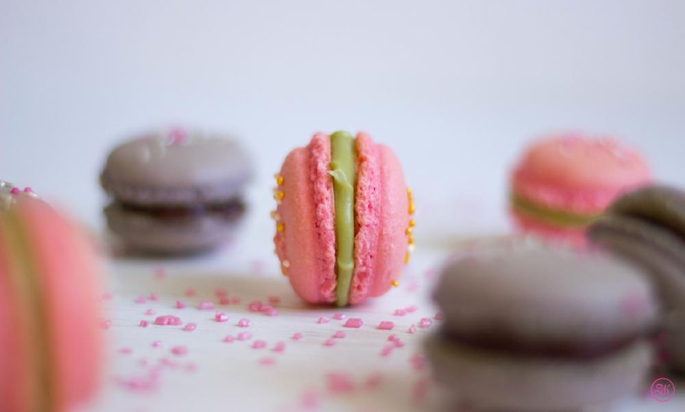 Macarons - hier im Fokus steht die Version mit Matcha-Ganache