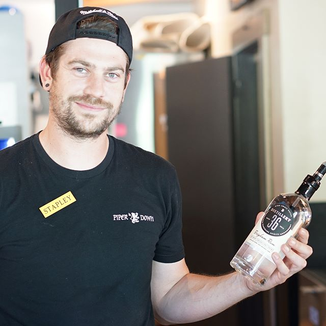 @handlebarslc is open for business!  Pedal on down and let this handsome fella make you a cocktail!  #distillery36 #handlebarslc #brighamrum #craftspirits #wedrinkslc #rum