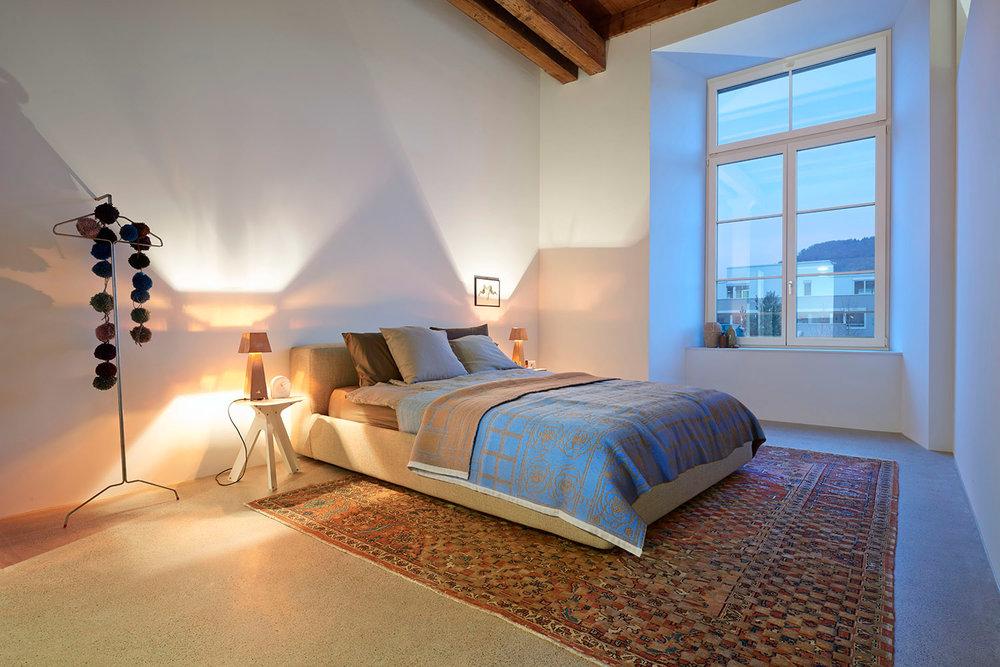 Home Staging, Musterloft, Schalfzimmer, Teppich Jan Kath,