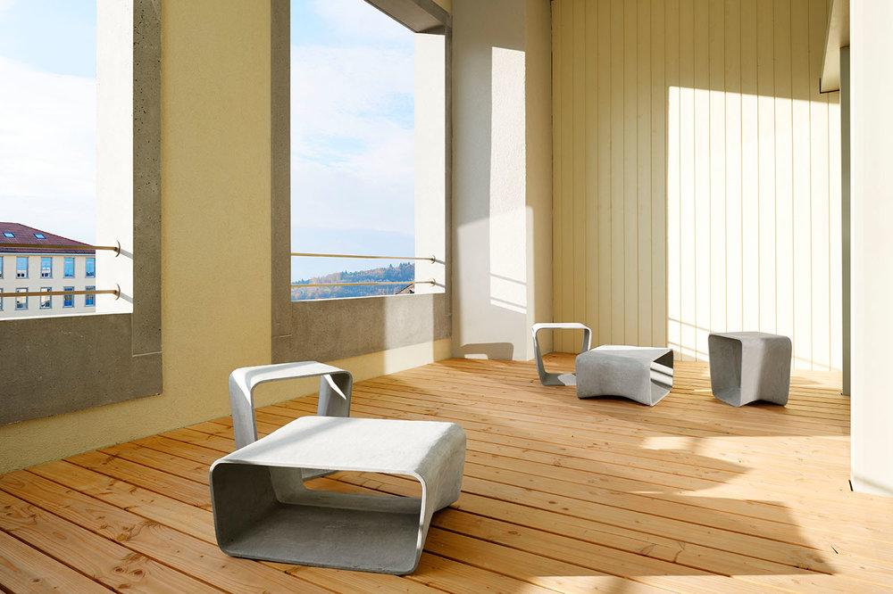 Home Staging, Musterloft, Balkon, Tisch Eternit, Hocker Eternit