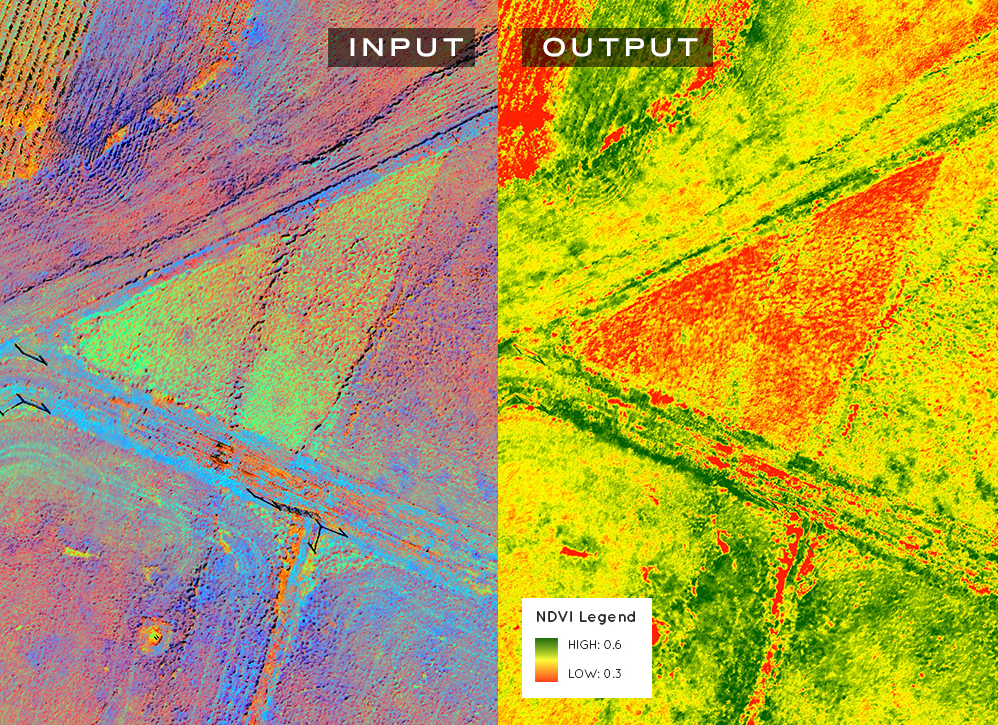 A normalized vegetation index. The most common vegetation index, widely used for satellite monitoring and airborne monitoring. Recommended as part of a multiple date monitoring program to assess a wide range of conditions from leaf area values to plant vigor. PrecisionHawk