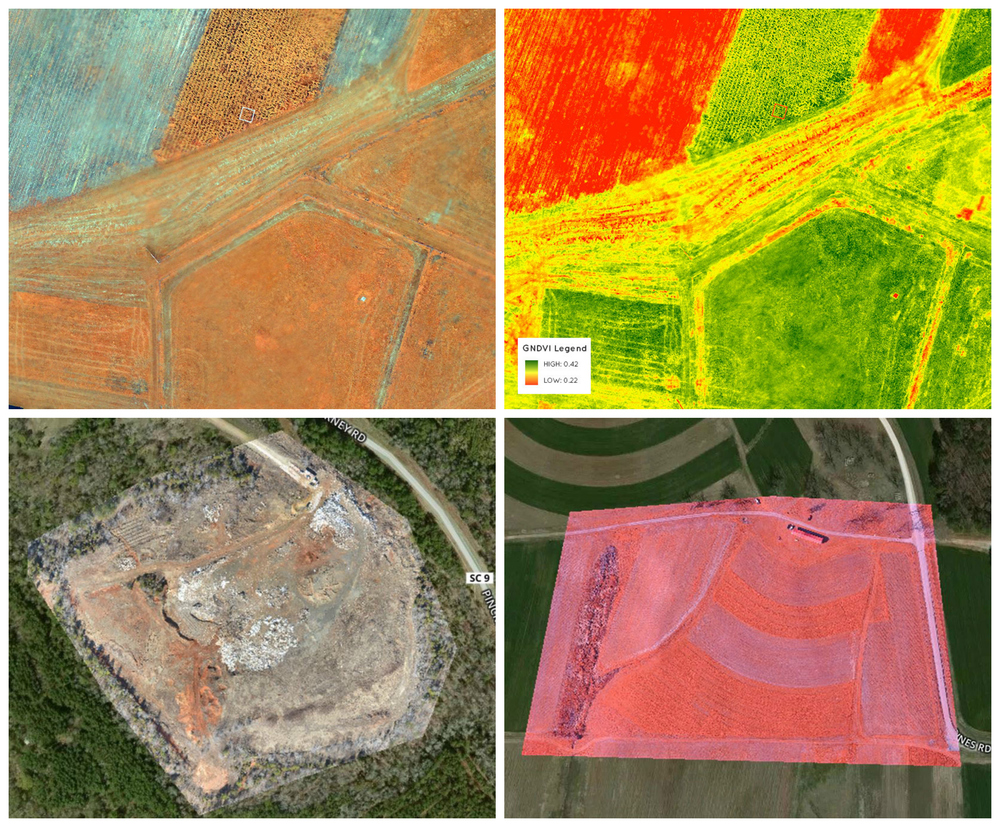 Top: Green Normalized Difference Vegetation Index. Sensitive to chlorophyll levels, a good indicator of plant stress and late growth stages before a harvest.  Below: Orthomosaic. Made by the process of orthorectifying raw imagery and combining them into a single image. PrecisionHawk