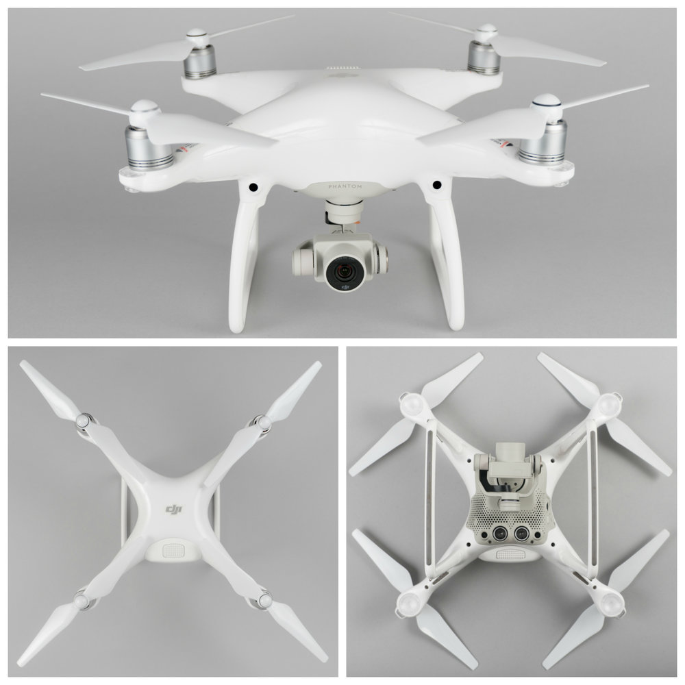 The DJI Phantom 4 features a clean, streamlined designed.