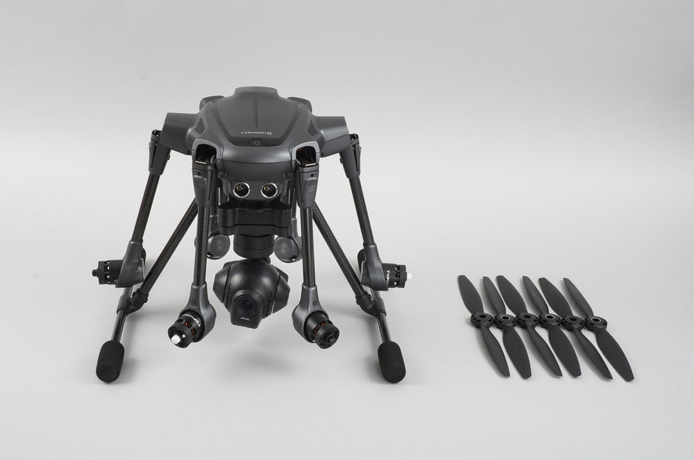 The Typhoon H features folding arms and 6 propellers