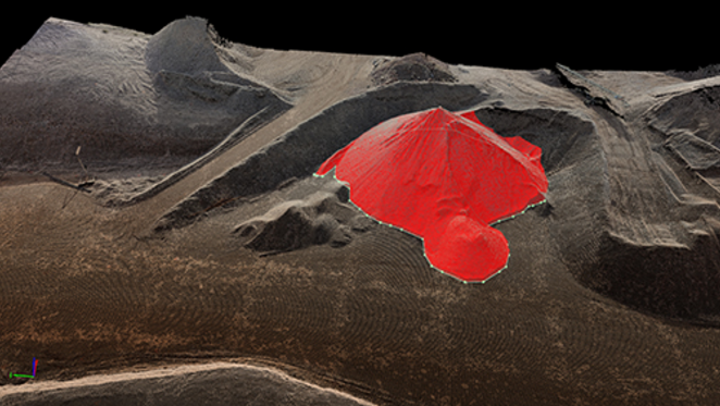 Users can analyze the movement and volume of stockpiles on site. Courtesy of Pix4D.