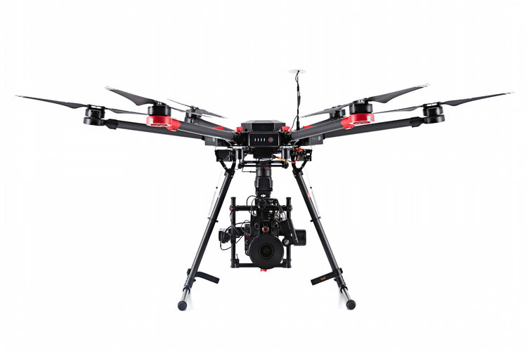 The Matrice 600 features 6 batteries and is capable of flying up to 45 minutes
