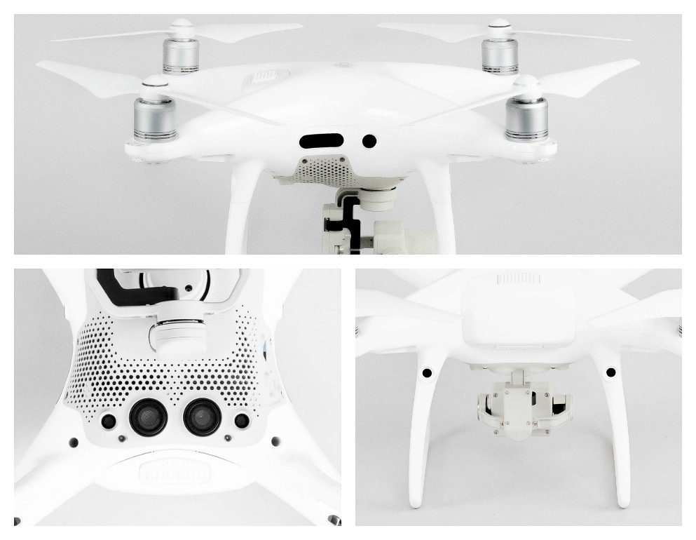 Sensors can be found on the front, rear, sides, and bottom of the Phantom 4 Pro