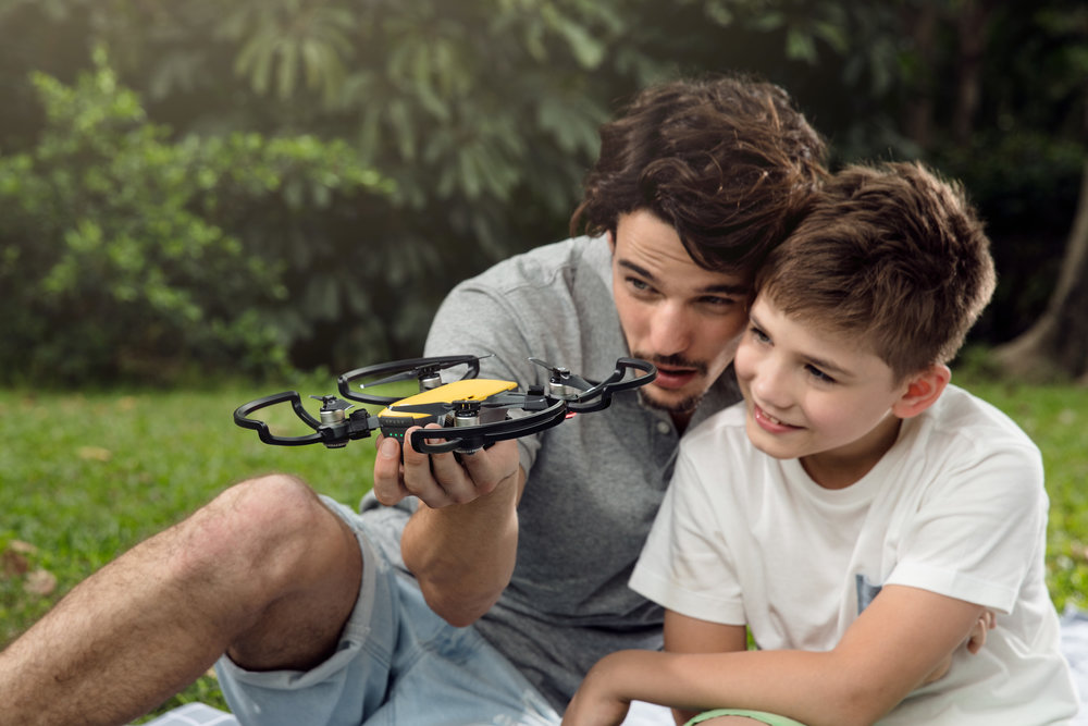 Propeller guards are sold separately for additional safety when flying the drone