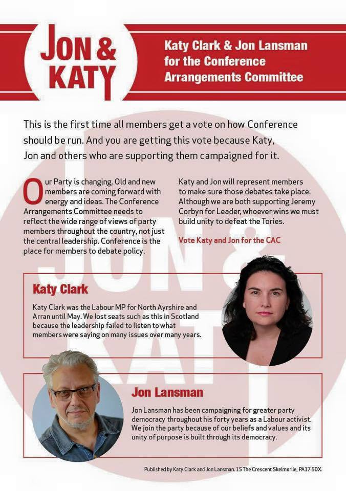 Conference Arrangements Committee (Katy CLark and Jon Lansman)
