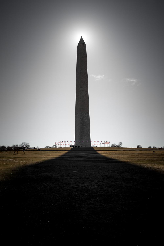Washington Memorial in silhouette