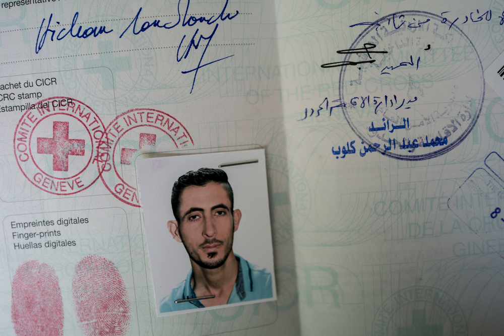 Nedal Al Hayek's International Committee of the Red Cross travel paperwork, an emergency travel document recognized by the UNHCR, which is given as a one-way travel document for refugees.