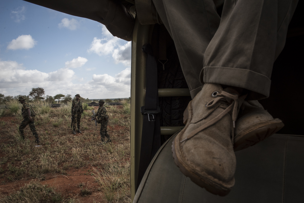 Rangers from the Kenya Wildlife Service keep watch after the collaring caravan stopped on Voi-Taveta Road to wait for an elephant to be darted in Tsavo West National Park in Kenya on March 15, 2016.