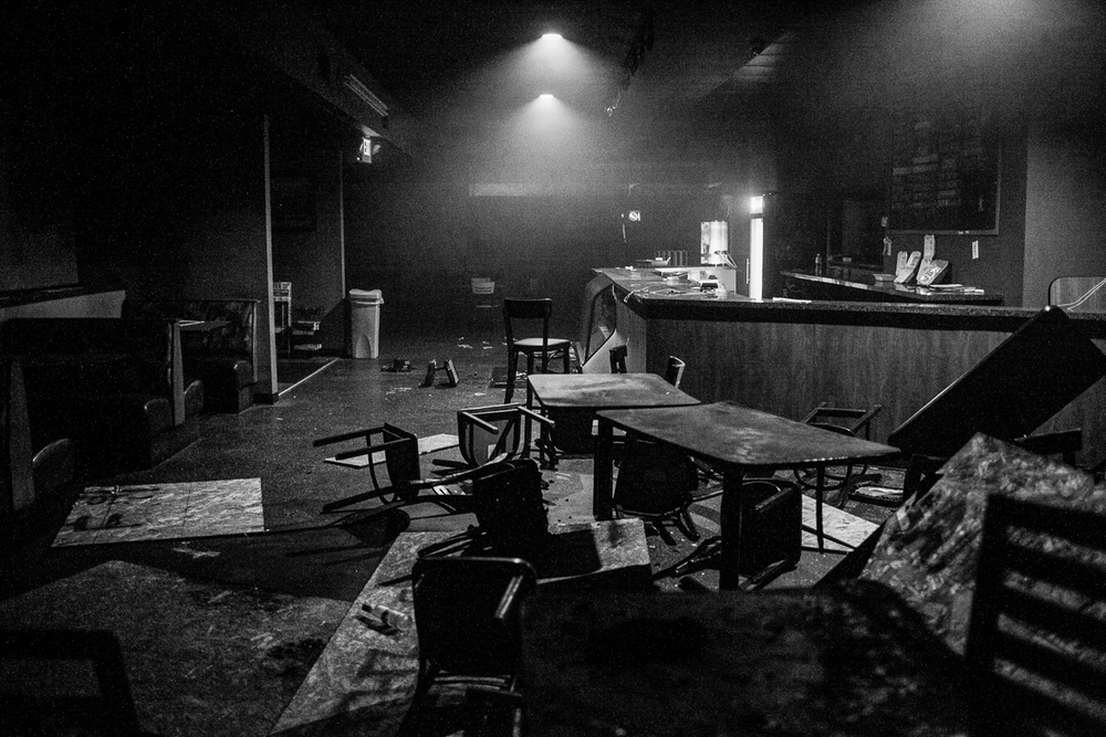 USA. Ferguson, Missouri. November 24, 2014 : The interior of Redz Barbecue after it was looted and destroyed following the non-indictment decision in the shooting death of Michael Brown. Brown, 18, was shot in killed in a officer involved shooting. His death caused unrest in Ferguson and became symbolic in the Black Lives Matter movement throughout the United States.