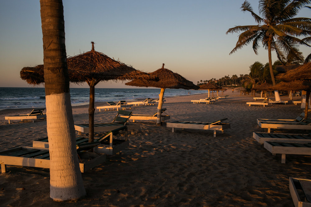 THE GAMBIA. Serekunda. January 24, 2017. Beach chairs at the Paradise Beach Bar remain empty on January 24, 2017 in Serekunda, The Gambia. Many popular travel destinations still remain empty after an exodus of tourists during a period of political instability.