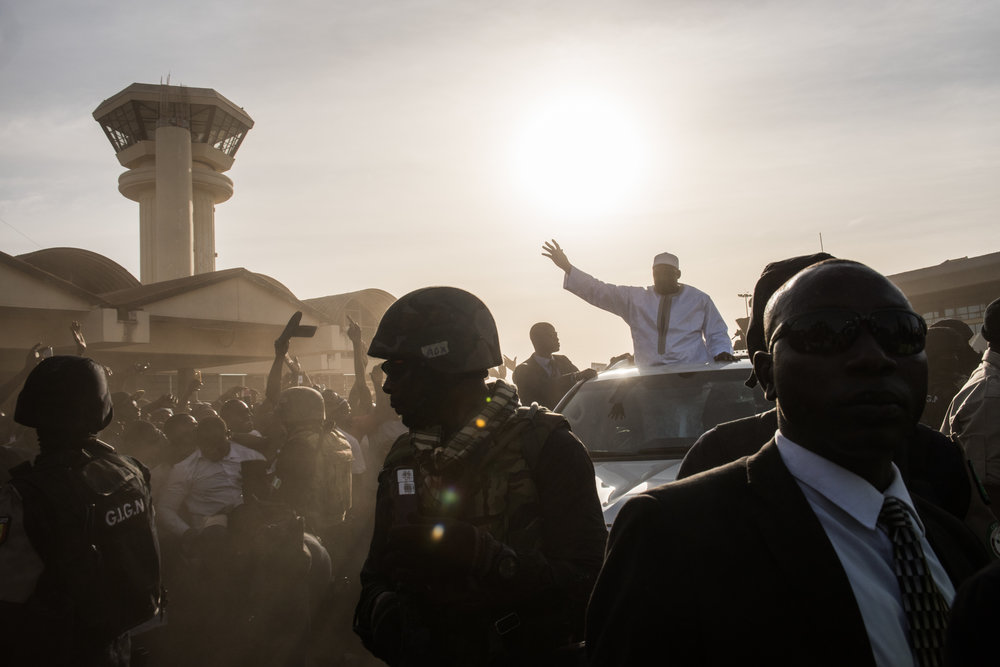 Gambian President Adama Barrow arrives at Banjul International Airport on January 26, 2017 in Banjul, The Gambia. Barrow had been staying in Senegal after authoritarian ex-president Yahya Jammeh refused to step down following December election results.