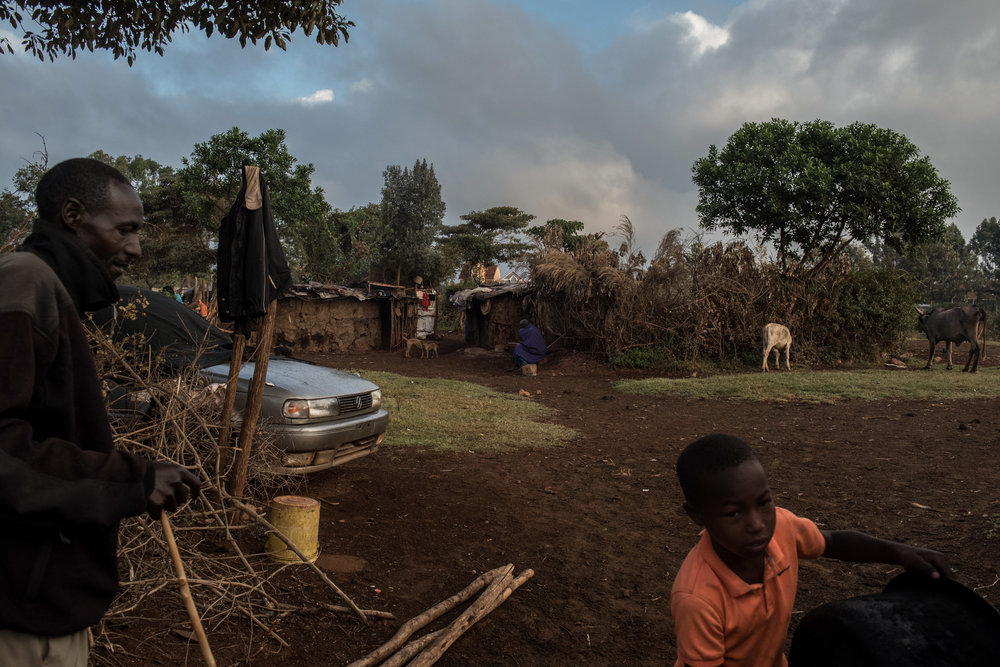 A group of Masai homes in the Langata neighborhood of Nairobi, Kenya on November 1, 2016. Masai herders move their cattle from southwestern Kenya to graze in Nairobi when the land is too dry to raise livestock.
