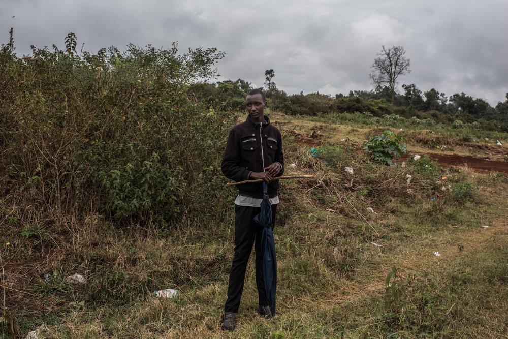 Edwin Lekishon, 16, watches his cattle graze on the outskirts of Kibera, Africa's biggest urban slum, in Nairobi, Kenya on November 2, 2016. Masai herders move their cattle from southwestern Kenya to graze in Nairobi when the land is too dry to raise livestock.