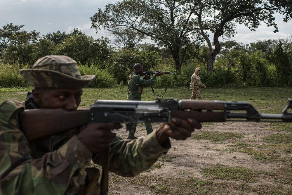 Rangers during weapons training at Garamba National Park Headquarters on November 29, 2017.